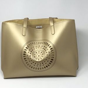 Neiman Marcus metallic brushed gold tote